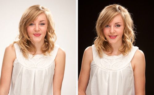 The shot on the left is with no gel on the background light and the flash head set at half power. The shot on the right is with the flash head off completely.