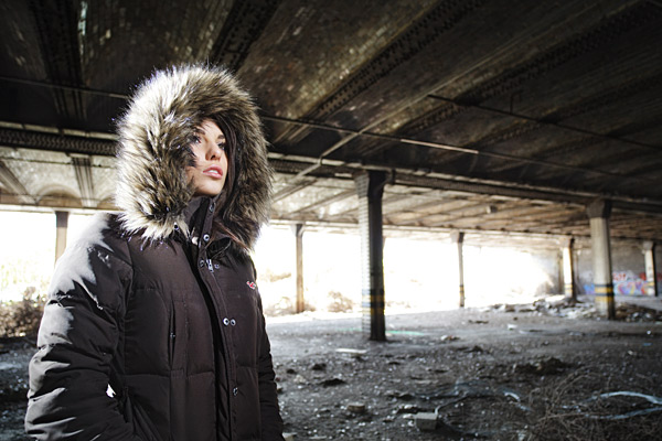 Stina is well wrapped up in our first shooting location. Lit with a pair of Speedlights.