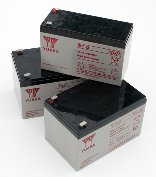 Sealed Lead Acid batteries like these are commonly found in photo video lighting equipment. Either carried in shoulder bags for portability or inside location flash power packs.