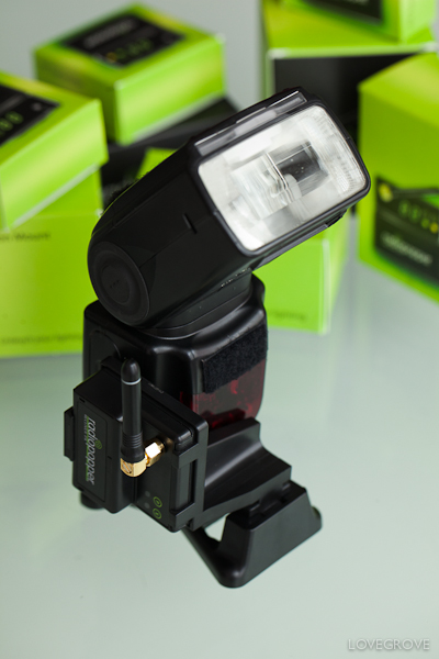 A Radio Popper receiver on a Nikon SB-900 Speedlight