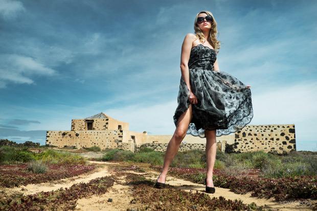 Carla Monaco in the landscape and ruins of Fuerteventura