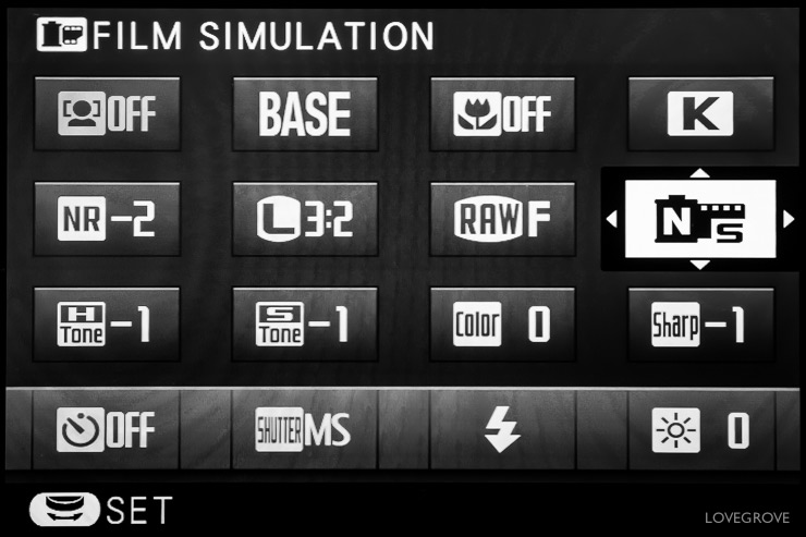The Qmenu of my X-T1 is set out like this.