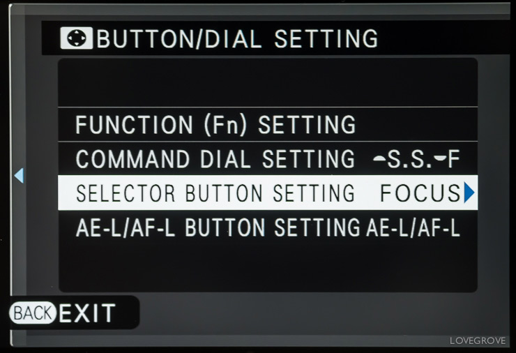 I set the Selector button to Focus area