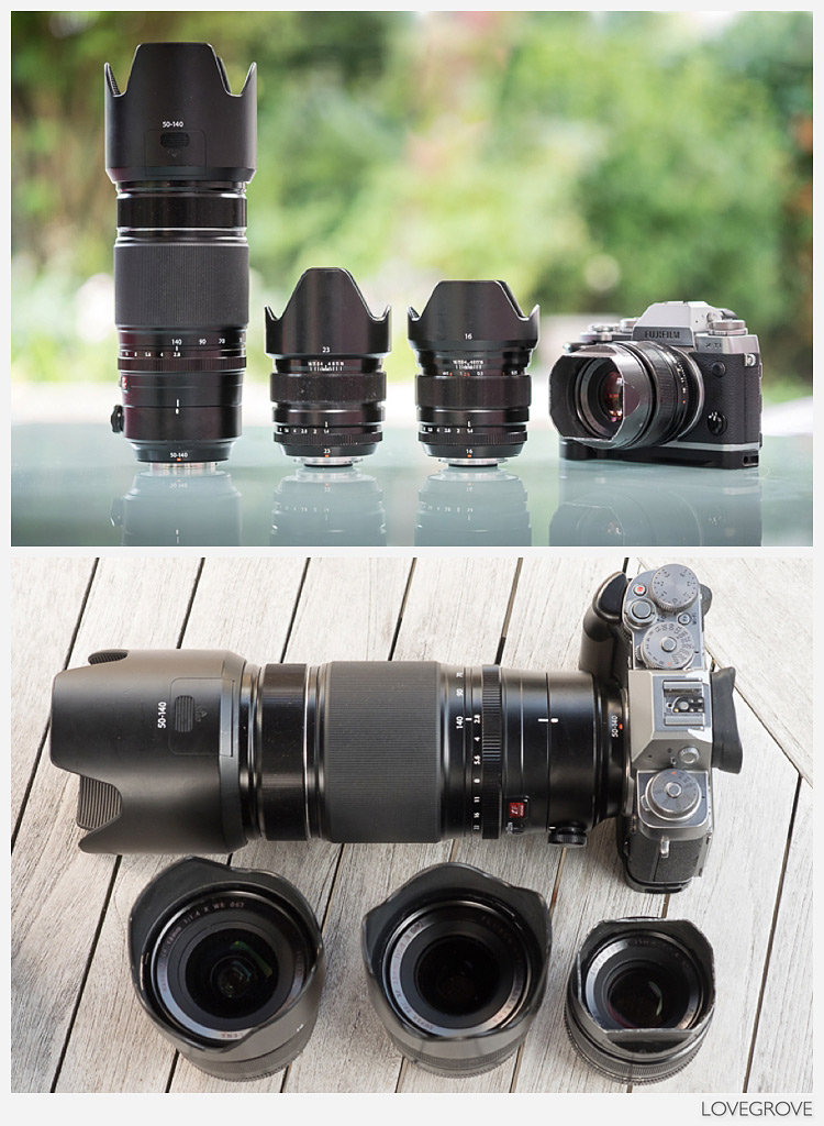 The lenses and camera in Damien Lovegrove's bag