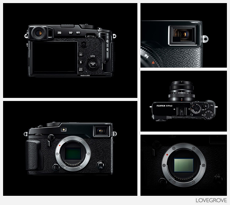 The official photographs provided by Fujifilm clearly show the phase detection pixels on the sensor and the X100T type hybrid OVF/ EVF. The button layout has changed considerably too. Although at first glance the X-Pro2 looks fairly similar to the X-Pro1 just about everything except the battery has changed.