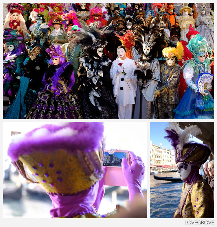 01. Once a year the Venice Carnival plays host to a masked and elaborately dressed ball. The players are from all over the world and are tourists too hence the phone pictures on board the water bus.