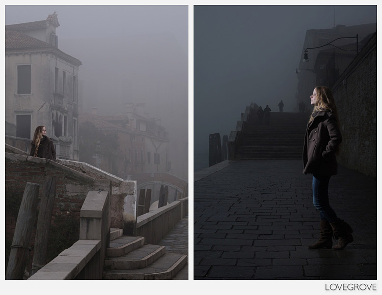 02. Allesandra in Venice fog lit with a Speedlight
