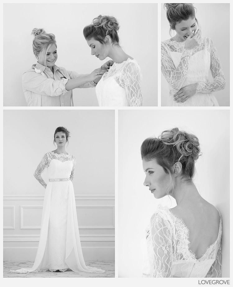 Abigail Westrup adjusts the wedding dress.