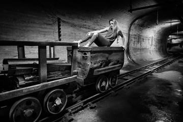 Sheena Williams in an abandoned coal mine in Belgium