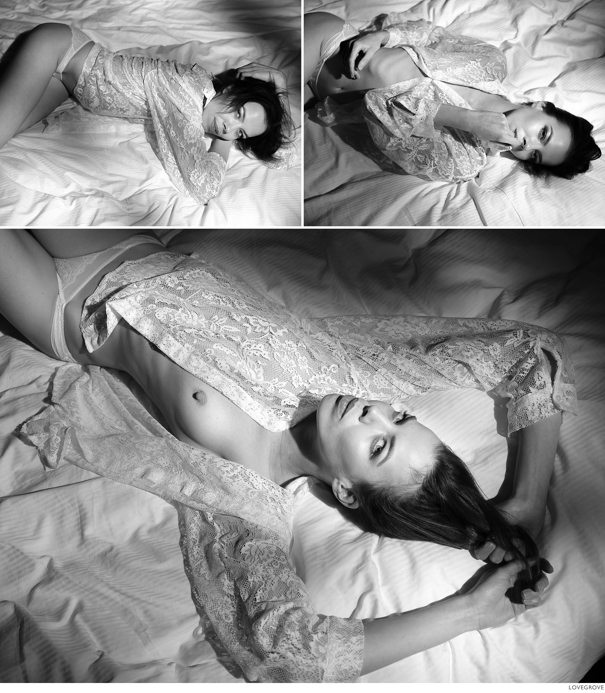 Denisa on a bed in monochrome.