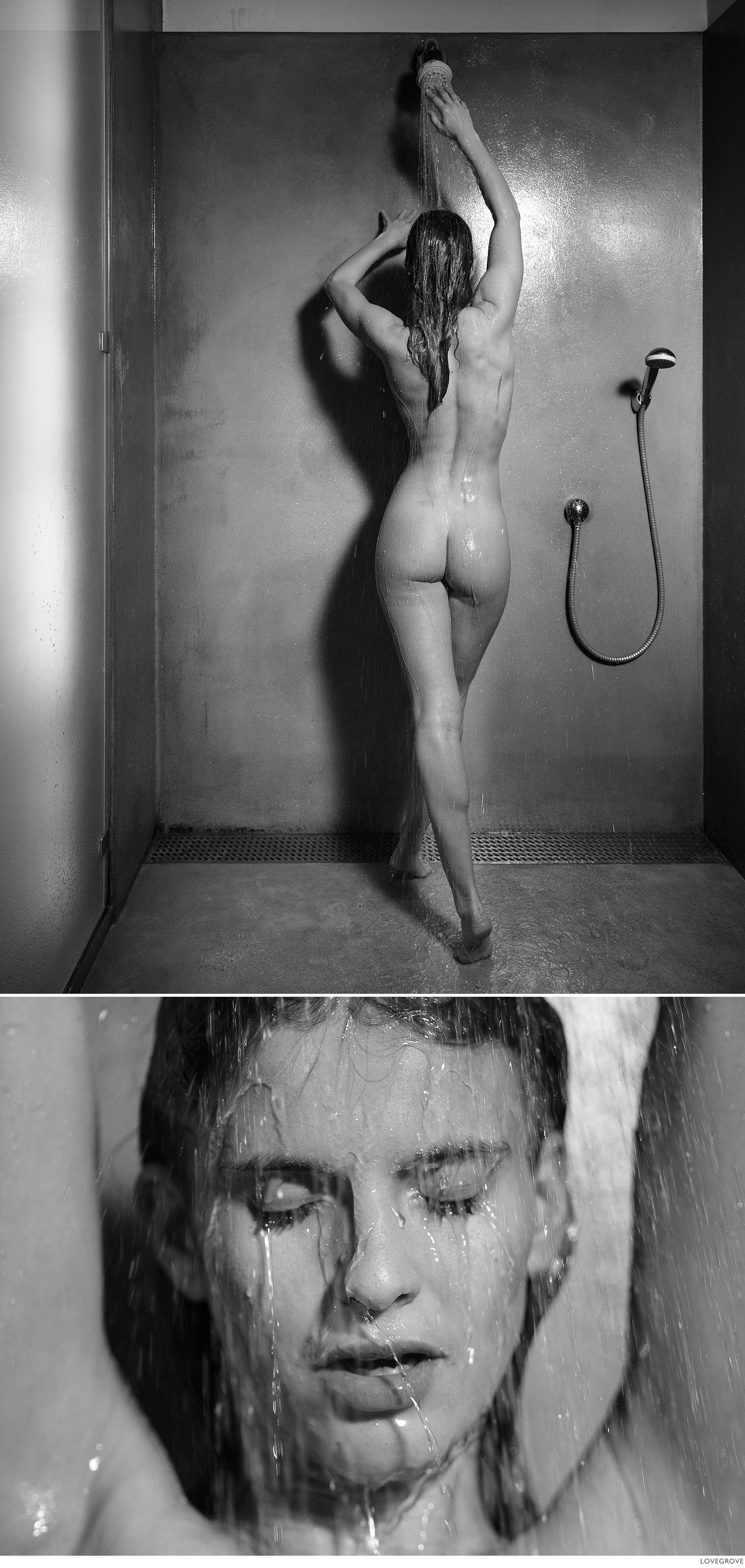 Terez Kačová in the shower. Shot in black and white.